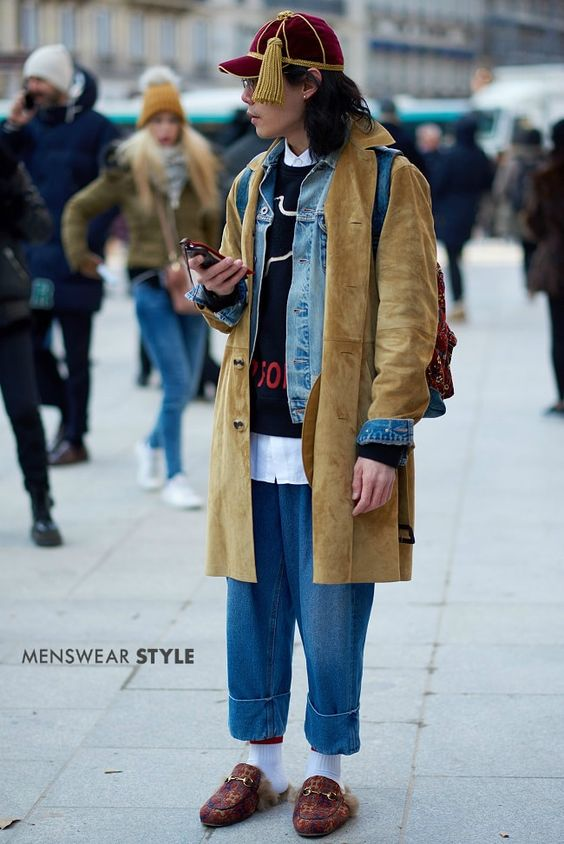 A unique look spotted on the streets of Paris consisting of Wide Leg Cropped Jeans, Camel Coat and Denim Jacket.