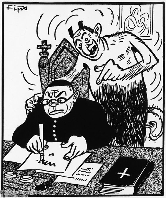 "The Devil Feeds Anti-NS Slogans to a Catholic Priest (May 1938) From 1935 on, the NS press, under the direction of the propaganda ministry, carried out a regular campaign of harassment and defamation against the Catholic Church and its Christian doctrines, to get away from these ideas from German life. Here is one example taken from the NS weekly newspaper Der Stürmer. According to this caricature, it is the ""Jewish devil"" himself who feeds criticisms of the NS regime to Catholic priests.:"