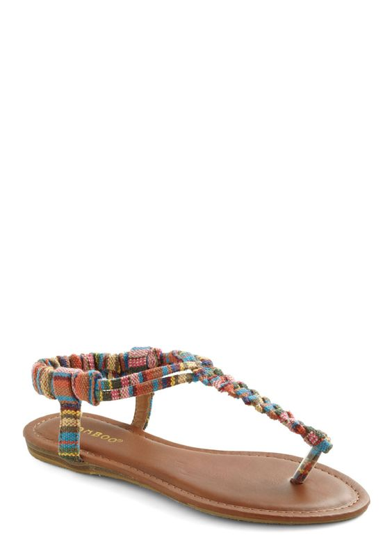 Worldly Style Sandal - Multi, Braided, Casual, Summer, Flat
