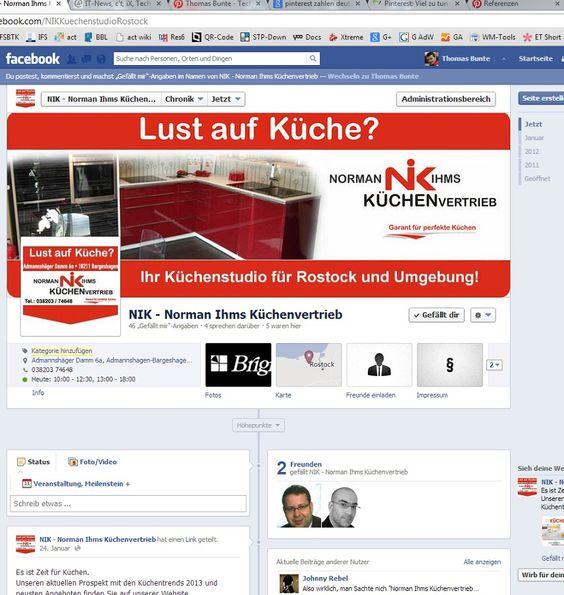 Erstellung und regelmäßige Betreuung der Facebook-Fanpage von NIK Norman Ihms Küchenvertrieb - dem Küchenstudio für Rostock und Umgebunge durch Bunte - Technologie & Kommunikation.