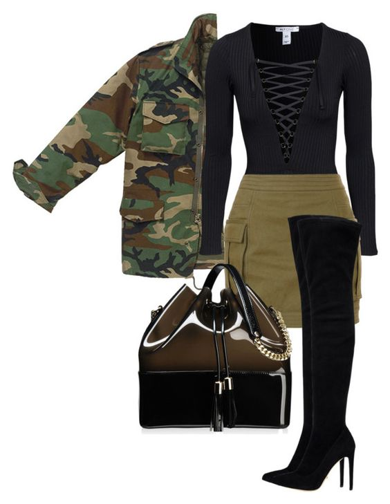 black & camo by minkstyles on Polyvore featuring polyvore, fashion, style, Balmain, Sergio Rossi, Kartell and clothing
