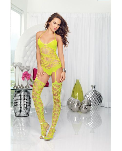 Large Slash Cut Out Halter Romper W/opaque Bra, Back Neck Tie Closure & Stockings Lime O/s