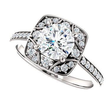 1CT Round Brilliant Moissanite & Diamond Fancy Vintage Style Halo Wedding Engagement Ring 14K White Gold