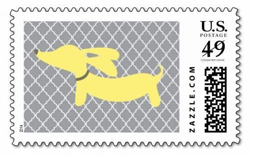 Yellow and Gray Dachshund Postage Stamps