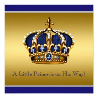 Gold Crown Pequeno Príncipe Bebê Azul e convite do chá