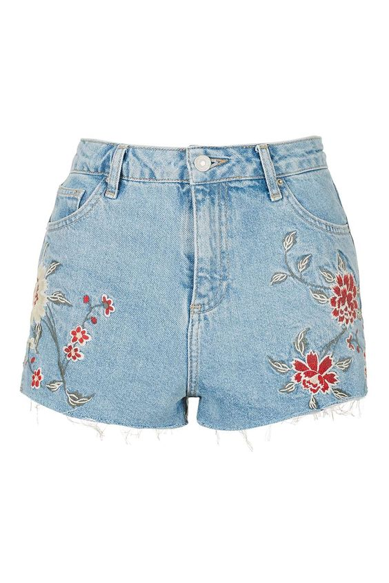 MOTO Embroidered Mom Shorts - New In This Week - New In - Topshop