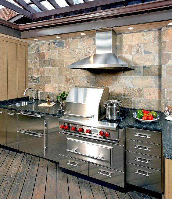 Outdoor kitchens outdoor and kitchens on pinterest for Outdoor kitchen grill hood