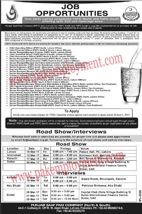 Pakistan Employment Punjab Saaf Pani Company Jobs Latest - senior director job description