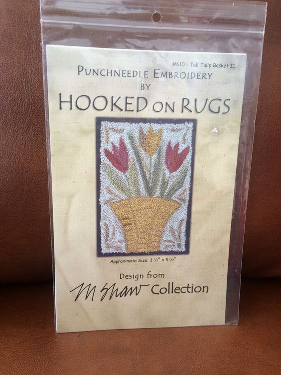 Spring Tulip Themed Hooked on Rugs Design for Punchneedle Embroidery by CobbWebbTreasures on Etsy