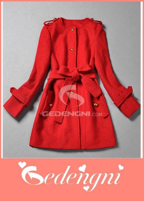 Cheap Red Woolen Material Lace Coat