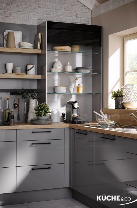 Kuche L Form Landhauskuche In Perlgrau Matt Moderne Kuche Einbaukuche Haus Kuchen