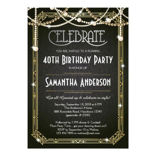 great gatsby style art deco birthday party invitation by studiodmd 1000 jades sweet 16 pinterest gatsby style gatsby and party invitations - Great Gatsby Party Invitations
