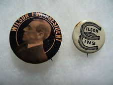 2 Woodrow Wilson Political Campaign Pin Badge Button No.3