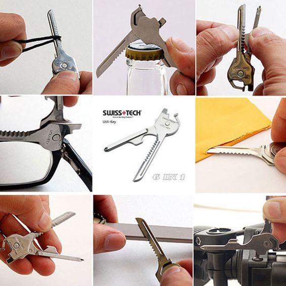 6 In 1 Utili-Key Mini Multitool Keyring Pocket
