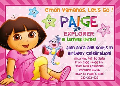 Dora The Explorer Birthday Party Photo Invitation Digital File Card Explorer Birthday Party Dora The Explorer Birthday Invitation Templates