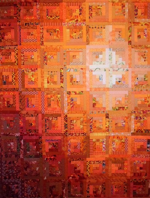 Seriously Orange Tonal Lob Cabin Quilt by | Linda Miller: