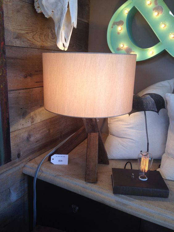 $215, elm wood table lamp, form and function