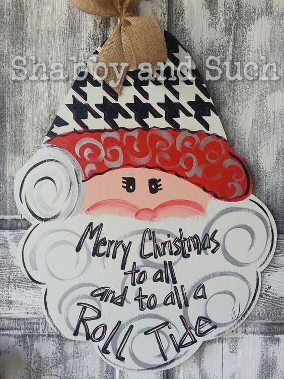 Santa Roll Tide Alabama Houndstooth by shabbyandsuchdesigns