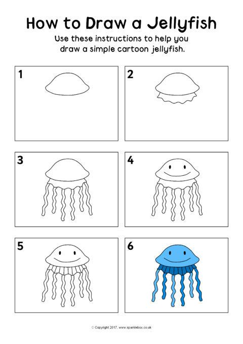 how to draw a jellyfish instructions sheet sb12336 sparklebox