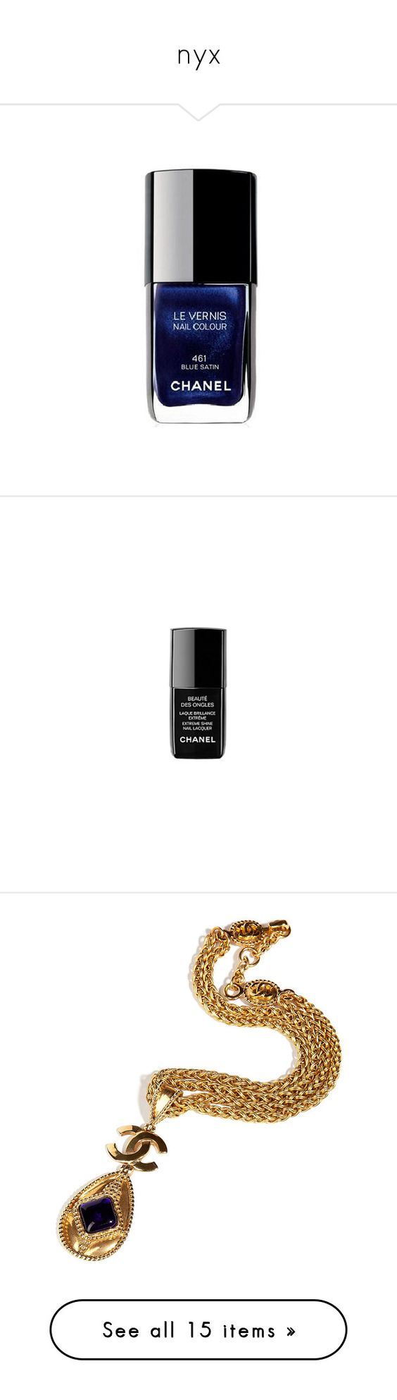 """nyx"" by majahihi ❤ liked on Polyvore featuring beauty products, nail care, nail polish, fillers, makeup, beauty, blue fillers, chanel nail colour, chanel nail polish and chanel nail color"