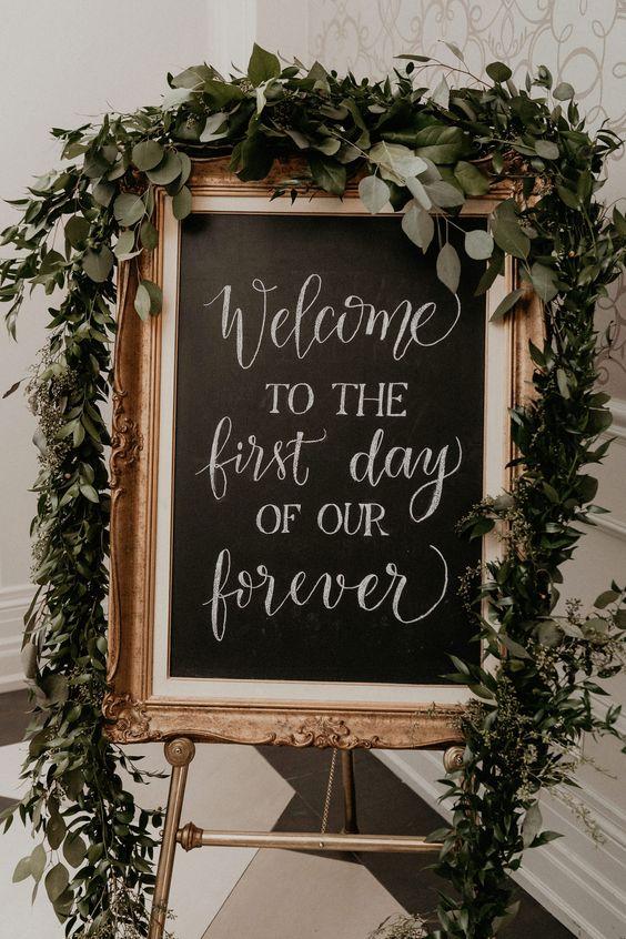 Chalkboard-Painted Vintage wedding sign