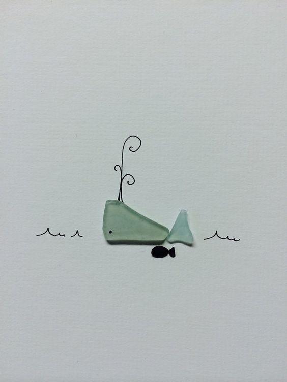 Meer-Glas und Kies-Kunst von Sharon Nowlan 8 mal 10 Wal und Freund