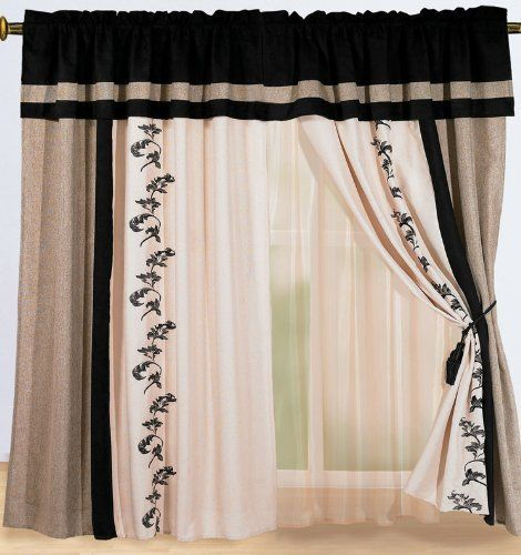 These may be my new kitchen curtains! Luxury Black, Cream Beige ...