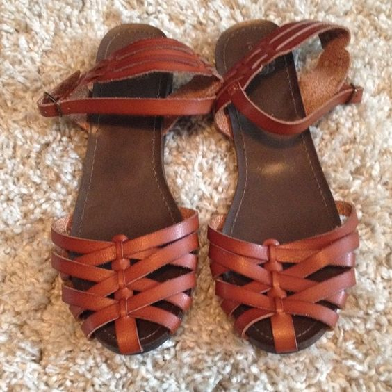 Closed toe sandal Brown leather sandal. Ankle strap. Worn once they're too big for me Shoes Sandals