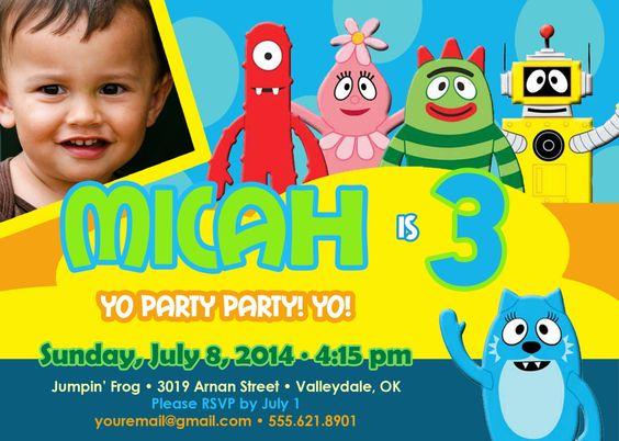 yo gabba gabba, party invitations and invitations on pinterest, Birthday invitations