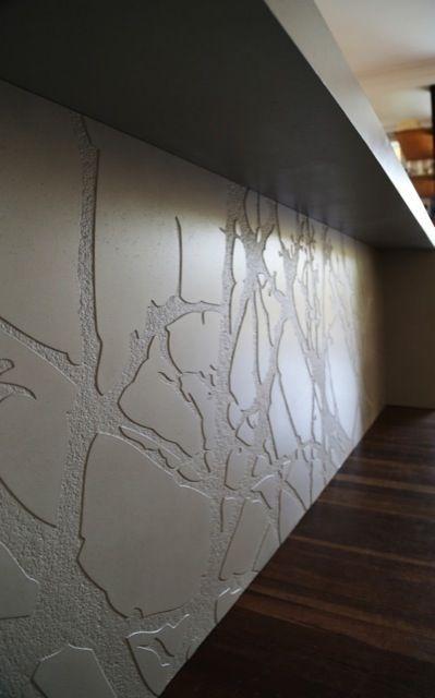 Axolotl concrete splashback kitchen carved