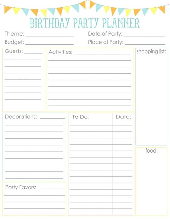 party planning- guest list chart free printables Pinterest - birthday party guest list