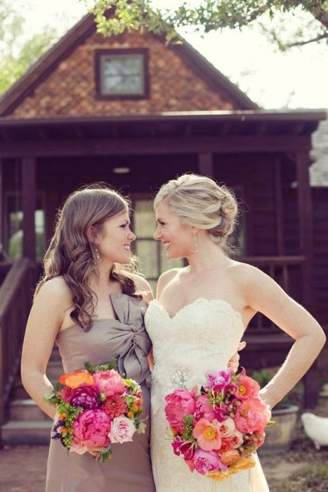 bride and maid of honor. - ker, we're gonna have lots of cute pictures :)