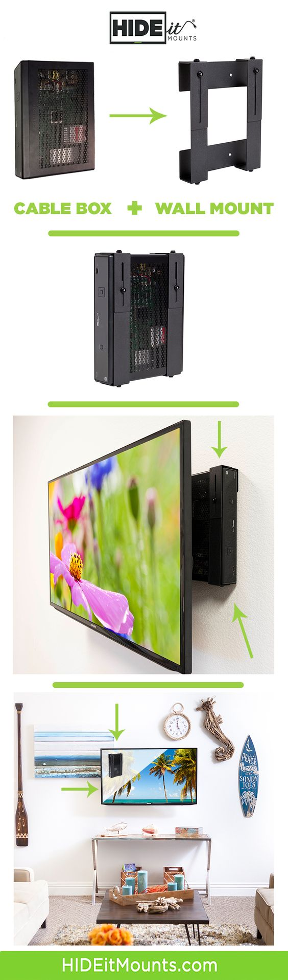 HIDEit Mounts  Gaming Wall Mounts - Cable Box Wall Mounts | Apple PS3 Wii  Xbox Roku DirecTV AT Definitely getting this mount for the cable box &
