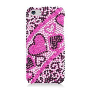 IPHONE LITE/5C Diamond COVER Heart Pink Black 384. New images and arrivals can be found at http://www.metrophones.co.