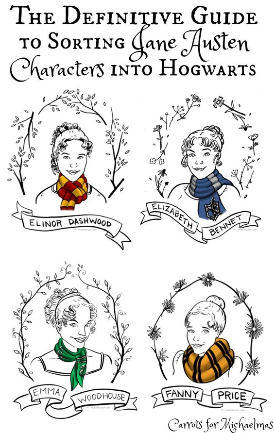 The Definitive Guide to Sorting Jane Austen Characters into Hogwarts Houses // Carrots for Michaelmas: