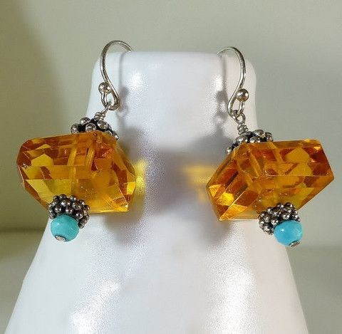 Faceted Honey Golden Citrine Nuggets & Bright Blue Turquoise Dangle Earrings – Sara Nolte Designs