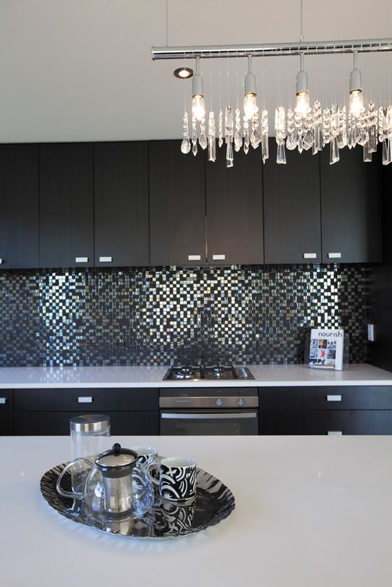 metallic mosaic tiled splash back Tauranga - Eco Credentials™ Showhome | Signature Homes NZ: