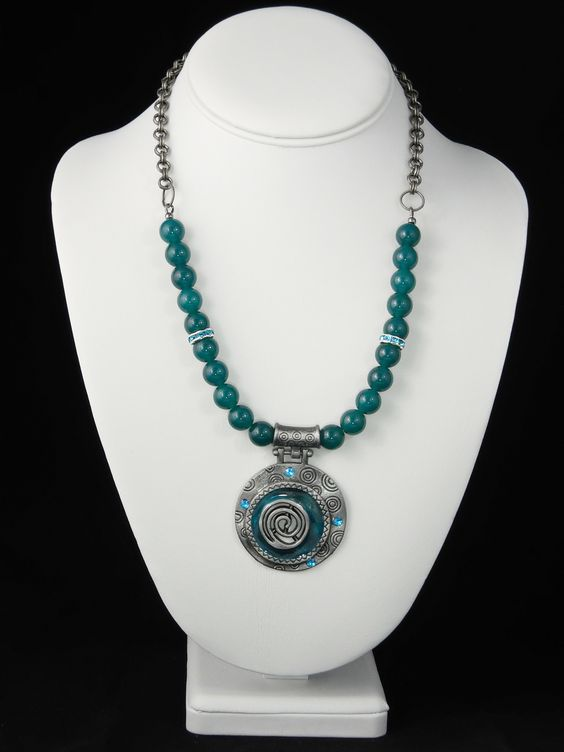 Pewter & Jade Pendant Necklace