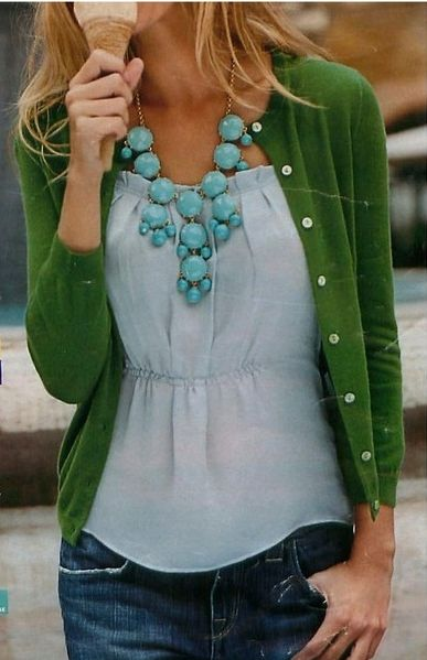 Love this color combo and the statement necklace from J. Crew!: Green Sweater, Statement Necklace, Color Combos, Dream Closet, Turquoise Necklace, Bubble Necklaces, Green Cardigan, Color Combination