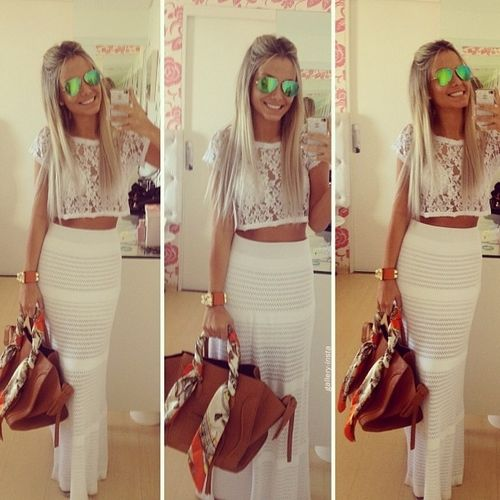 See through white lace top with the white maxi skirt | Slutty ...