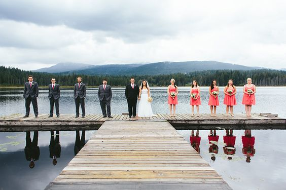 Bridal Party on the Dock at Whonnock Lake // Bohee & Dan's Wedding: http://alyssaschroeder.com/bohee-dan-whonnock-lake-wedding/