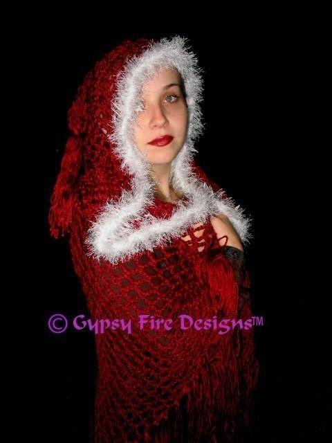 Hooded Renaissance Medieval Gypsy Stevie Nicks style Shawl Cape Crochet Pattern Free Shipping $7.99