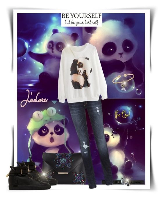 """Today I'm feelig like a Panda"" by katyusha-kis ❤ liked on Polyvore featuring Betsey Johnson, Emilio Pucci, True Religion and BUSCEMI"