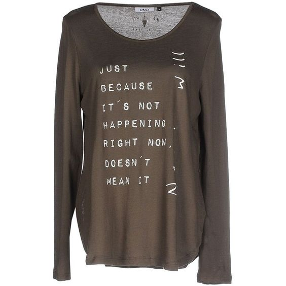 Only T-shirt ($26) ❤ liked on Polyvore featuring tops, t-shirts, military green, jersey t shirts, longsleeve t shirts, brown tops, brown jersey and olive t shirt