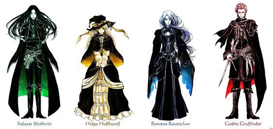 Salazar Slytherin, Helga Hufflepuff, Rowena Ravenclaw, Godric Gryffindor