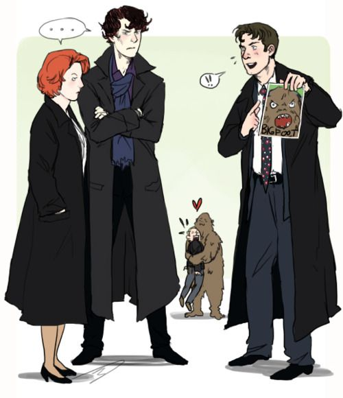 scully and sherlock are skeptical of mulders big foot