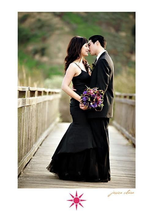purple and black wedding dresses