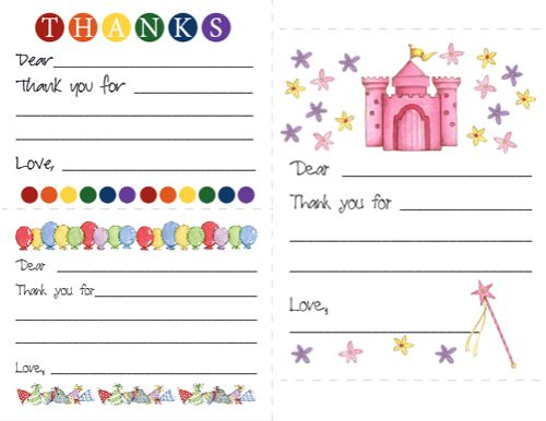 Teach your children to write Thank You notes Printables - free thank you card template for word