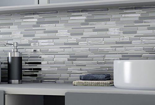 Stick On Wall Tiles: Aurora Peel And Stick Wall Mosaic Tiles , Titanium (Pack
