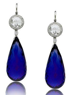 Platinum, diamond & tanzanite briolette drop earrings: